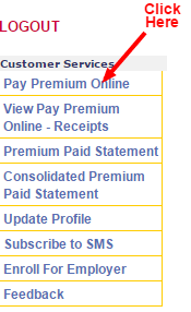 LIC Payment online customer services page