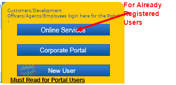 LIC policy status registered user home page image