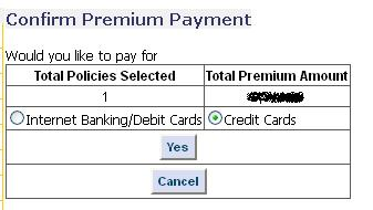 Lic payment online confirm payment page