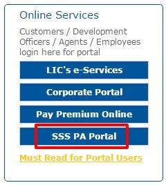 LIC SSS PA Portal service